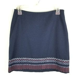 Boden Sz 4 Petite Skirt Mini Wool Blend Embroidere